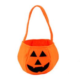 Wholesale Fabric Basket Weaving - Mix Order Halloween Festival Pumpkin Round Basket Non-woven Fabric Pumpkin Pattern Candy Hand Bags 20pcs lot Drop Shipping