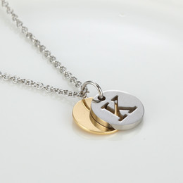 Wholesale Letter S K - Letter K L M N P Q R S T Necklaces Pendants Alfabet Initial Necklace Stainless Steel Choker Necklace Women Jewelry Kolye Collier