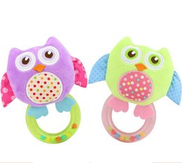 Wholesale Owl Baby Doll - Baby mobile Plush Toy animal Owl Rattle Hand Shake Ring Bell Early Educational Development Squeaker Doll
