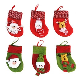 Wholesale Wholesale Christmas Stocking Stand - Mini Christmas Stocking Socks Santa Claus Candy Gift Bag Xmas Tree Decorations Festival Party Tree Hanging