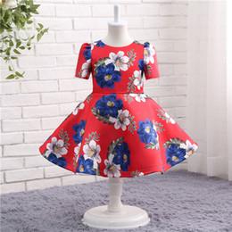 Wholesale Girls Pageant Dress Patterns - Rose Pattern Red Baby Girls Dresses Short Sleeve Flower Girls Pageant Dresses baby Girls Homecoming Dresses