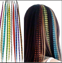 """Wholesale Feather Loop - Wholesale-100PCS Lot 16""""(40cm) Loop Hair Extensions Multicolour Cosplay Costume Hair Imitation Of Feather Hair Pieces Accessories"""
