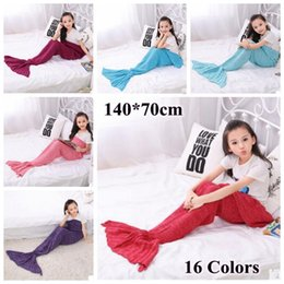 Wholesale Wholesale Crochet Bags - 16 Colors 140*70cm Kids Handmade Knitted Mermaid Blankets Mermaid Tail Blanket Crochet Blanket Throw Bed Wrap Sleeping Bag CCA7357 20pcs