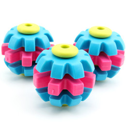 Wholesale Large Rubber Balls - 3 Colors Pet Dog Gear Ball Toys Grind Teeth Rubber Dog Cat Chew Toy For Small Medium Large Pets Mix Color 100pcs  lot