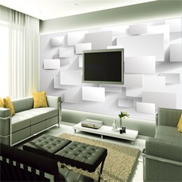 Wholesale Block Country - Wholesale Modern Block Grid 3d Wall Mural Wallpaper for Living Room TV Sofa Background 3d Photo Mural Papel de parede Home Decor