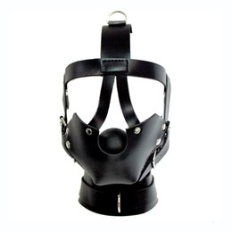 Wholesale Harness Ball Gagged - Bondae headgear mouth Ball Gag BDSM Restraints Head Harness Mouth Mask Ball Gag Adult Bondage toys for Women