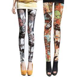 Wholesale Knitting Pattern Trouser - Wholesale- New Fashion women Leggings New Design Personality Digital Printed Pants Ladies Stretchy Pattern Trousers JL