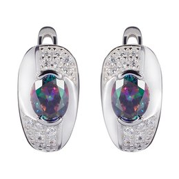 Wholesale Silver Earring Rainbow - Noble Women Rainbow Cubic Zirconia 925 sterling Silver Earrings S--3720 European Jewelry For Women Wedding Party Birthday Top Quality Casual