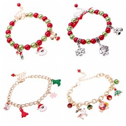 Wholesale Snowmen Beads - Merry Christmas Bead Charm Bracelets Silver Gold Plated Bracelets With Santa Elf Snowman Snowflake Charm Bracelets Xmas Gift