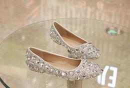 2019 zapatos de boda de tacón bajo de plata de diamantes de imitación 2019 zapatos de boda de cristal con tacones bajos planos, diamantes de imitación hechos a mano con diamantes de imitación hechos a mano, elegantes y elegantes, en color nupcial EUR Tamaño 35-40 zapatos de boda de tacón bajo de plata de diamantes de imitación baratos