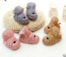 Wholesale Walking Shoes Infant Toddler Leather - baby shoes babies boy girl cartoon animal first walking newborn kids fur one warm toddler shoes infant moccasins toddler household shoeT0461