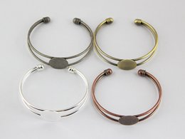 Wholesale Wholesale Adjustable Cuff Rings - 10pcs Wholesale Fit 18mm Cabochon Adjustable Round Pad Brass Blank Base Cuff Bracelet Settings For DIY Jewelry Findings