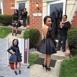 Wholesale Short Mini Taffeta Dresses - Black Girl Short Prom Dress Cheap A Line Lace And Taffeta Long Sleeves Party Dresses Evening Wear Vestidos Arabic Backless Homecoming Dress