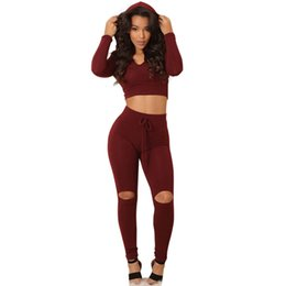 Wholesale Leggings Sellers - Wholesale- 2016 Best Seller Fashion Women Hooded Tracksuits Long Sleeve Crop Top + Leggings Tight Fitted Bodycon Jumpsuit 3 Color Rompers