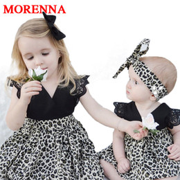 Wholesale Lace Ruffle Girls Dress Headband - MORENNA 0-7Y Fashion Baby Girl Clothes Leopard Suit Lace Ruffles Sleeve Romper Dress + Headband 2pcs Outfit Toddler Kids Summer Costume