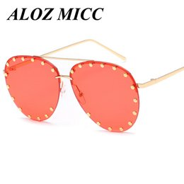 Wholesale Light Brown Frame Glasses - ALOZ MICC High Quality Women Rivet Alloy Pilot Big Frame Sunglasses 2017 New Summer Fashion Light Color Glasses UV400 A133