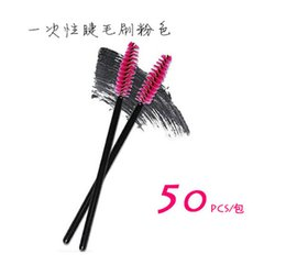Wholesale Eye Brush Disposable - New 50pcs lot make up brush Pink synthetic fiber One-Off Disposable Eyelash Brush Mascara Applicator Wand Brush best deal
