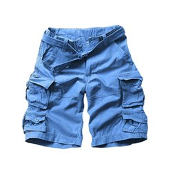 Wholesale Yellow Cargo Shorts For Men - Wholesale-New summer cotton loose half camouflage military style men shorts cargo shorts for man with belt JP001
