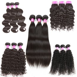Wholesale Remy Hair Pieces - Brazilian Virgin Hair Body Wave Straight Natural Water Deep Kinky Curly Wave Unprocessed Human Virgin Remy Hair Weave Bundles