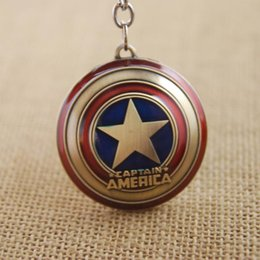 Wholesale New Avengers Movie - New Marvel Super Hero The Avengers Captain America Shield Metal Keychain Pendant Key Chains Keychains Free Shipping