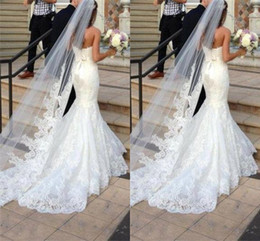 Wholesale Cheap Ship - Princess Wedding Veils Cheap Long Lace Bridal Veils One Layer Custom Made Lace Applique Edge Bride Veil Free Shipping