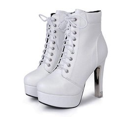 Wholesale Trendy Motorcycle Boots - 2017 Trendy 12cm White PU Leather Boots Buckles Platform High Heel Motorcycle Boots Size 34 To 39