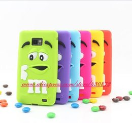 Wholesale Silicon Case Galaxy S2 - Wholesale-Funny 3D Silicon Chocolates MM Beans Rainbow Candy Soft Phone Back Skin Case Cover for Samsung Galaxy S2 i9100