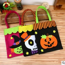 Wholesale Party Box Halloween Costumes - Halloween Non-Woven Fabric Candy Bags Halloween Bag Pumpkin Spider Skull Witch Party Decorations DIY Event Party Supplies 952