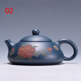 Wholesale Yixing Purple Teapot - Yixing Purple clay Teapot Flat Tea Pot,China's top-level artist design Green mud Purple sand pot handmade Kung Fu Tea Set Teapot