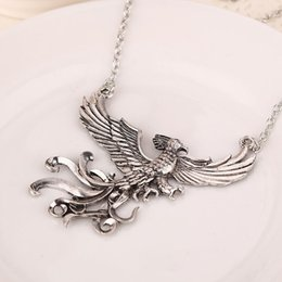 Wholesale Huge Birds - 10pcs jewelry vintage Statement silver plated alloy Movie big bird necklace Huge Takeoff big Phoenix pendant necklace women 2017 x182