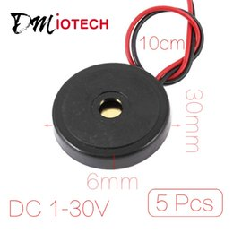Wholesale Alarm Buzzer Sound - Wholesale-5 Pcs lot DC 1-30V 90dB Sound Electronic Buzzer Alarm Black 30 x 6mm