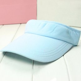 Wholesale Wide Brim Visors For Women - Wholesale-New Plain Visor Sun Hat Sport Cap Adjustable Tennis Beach Hats for Women Men Free Shipping