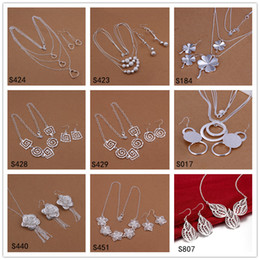 Wholesale Cheap African Style Jewelry - Brand new 6 sets diffrent style and color women's sterling silver jewelry sets DFMS33,cheap fashion 925 silver Earring Necklace jewelry set
