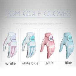 Wholesale Right Hand Glove - Breathable PGM Women Golf Gloves Left Hand and Right Hand Wear Resistant Microfiber Cloth Glove Antislip Antiskid Ladies Golf Sport Gloves