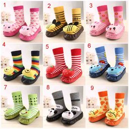 Wholesale Thick Soled Socks - Free dhl Children infant Cartoon Socks Baby Gifts Autumn Winter Kids Indoor Floor Socks Leather Sole Non-slip Thick Towel Socks