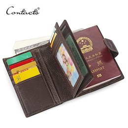 Wholesale Car Credit - Wholesale-Guarantee 100% Genuine Leather Mens Passport Holder Wallets Man Cowhide Passport Cover Purse Brand Male Credit&Id Car Wallet