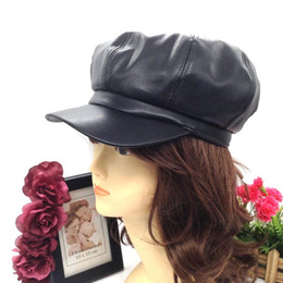 Wholesale Wedding Hats For Men - Wholesale-Fashion pu leather newsboy hat for women ladies party wedding baseball hip hop cap