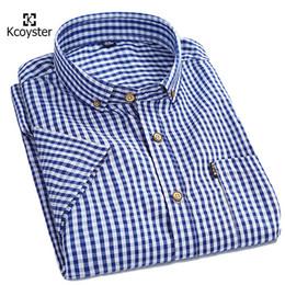 Wholesale Gingham Buttons - Wholesale- Kcoyster mens plaid shirts small checks gingham shirts men short sleeve button down cotton shirts spring summer men clothes 4xl