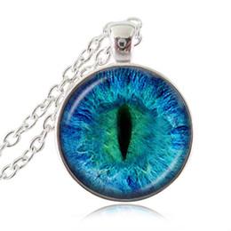 Wholesale Cat Eye Cabochon - Dragon Cat Eye Pendant Necklace Evil Eye Fashion Jewelry Glass Cabochon Round Pendant Sweater Accessories Women Men Jewellery