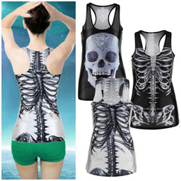 Wholesale Punk Tanks - Wholesale-Popular Cool 3D Sexy Women vintage Printed Skeleton Skull Tank Tops Gothic Punk Clubwear Punk knitted T-Shirt Wholesale