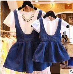 Wholesale Girl S Denim Dresses - Wholesale Women Clothes Mom Daughter Dresses Girls Denim Blue Dress White Shirt Short Sleeved Cotton Suspender Kids Summer Free Shipping