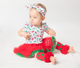 Wholesale Tutu Leggings Dots - 2016 christmas outfits baby girl summer romper with ruffle tutu + lace striped leggings + headbands boutique sets newborn clothes wholesale