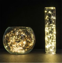 Wholesale Lamp Rice - 100XCR2032 mini Rice steady on warm white micro copper wire fairy string lights starry decor lamp for holiday party wedding Xmas