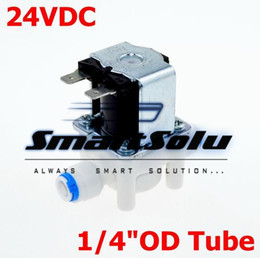 """Wholesale 24v Oil Solenoid - DC 24V NC(Normal Close) 1 4"""" Hose Pipe OD(6.35mm) Conntection POM for RO Water air oil Electric Plastic Solenoid Valve"""