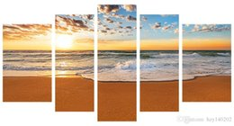 Wholesale Abstract Waves Painted Walls - YIJIAHE Fashion Canvas Painting Art Sea Wave Print on Canvas Large 5 Piece Wall Pictures for Living Room Stretched and Framed