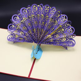 Wholesale Christmas Laser Cut Greeting Cards - Vintage 3D Pop Up Paper Laser Cut Greeting Cards Creative Handmade Peacock Postcards for Lover Thank You Cards