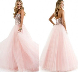 Wholesale Tulle Corset Bling - Pink Long Prom Dresses Sweetheart 2017 Bling Bling Crystals Beads Sequins Tulle Ball Gown Corset Party Quinceanera New vestidos de fiesta