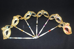 Wholesale Christmas Festive Masks - New masquerade ball masks on sticks Venetian carnival mask Festive and party supplies Handmade pulp 6 colors available Drop shipping
