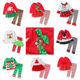 Wholesale Kids Wear Polka Dot - 2016 baby xmas elk outfit girls deer christmas tree t-shirt + ruffle pants 2pcs sets children polka dot tops kids spring fall wear outfit