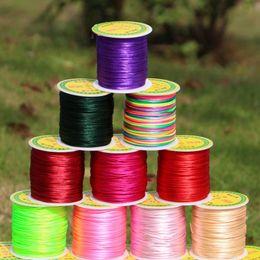 Wholesale Thread Jewelry Beading - 50M 1.5mm Satin Nylon Cord Chinese Knotting Beading String for Shamballa Bracelet Threads Macrame Rattail Rope Jewelry Findings DIY